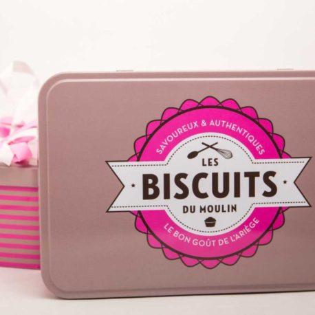 boite métal biscuits du moulin spécialité ariégeoise, produits du terroir ariege